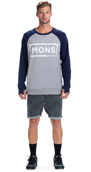Mons Royale M's Tech Sweat Grey Marl/Navy